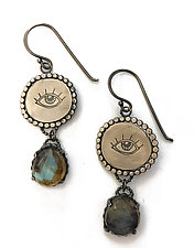 Labradorite and Silver Eye Earrings by Alice Scott (Silver & Stone Earrings)