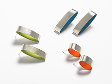 Ellipses Fine Silver Post Earrings by Mary Raivel (Silver Earrings)