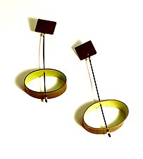 Ellipses Oxidized Brass Dangle Posts by Mary Raivel (Brass Earrings)