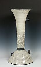 Raku Sculpture in White and Black by Frank Nemick (Ceramic Sculpture)
