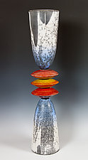 Cone Stack in Blues and Reds by Frank Nemick (Ceramic Sculpture)