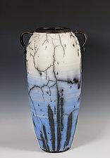 Blue Naked Raku Vessel by Frank Nemick (Ceramic Vessel)