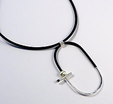 B&W Oval Pendant by Laura Hutchcroft (Silver Necklace)