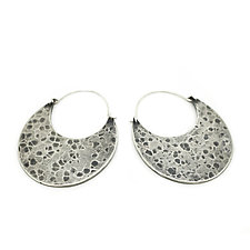 Hammered Silver Hoops by Jenny Foulkes (Silver Earrings)