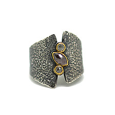 Three-Diamond Ring by Jenny Foulkes (Gold, Silver & Stone Ring)