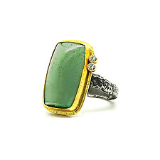 Green Aquamarine and Diamond Ring by Jenny Foulkes (Gold, Silver & Stone Ring)