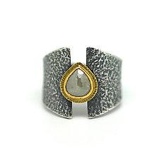 Raw Diamond Teardrop Ring by Jenny Foulkes (Jewelry Rings)