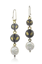 Descending Blossoms Earrings by Christine Mackellar (Gold, Silver & Pearl Earrings)