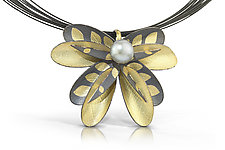 Black Dragon Flower by Christine Mackellar (Gold, Silver & Pearl Necklace)
