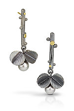 Dancing Blossoms with White Pearl by Christine MacKellar (Gold, Silver & Pearl Earrings)