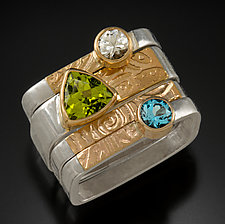 Stackable Square Rings by Idelle Hammond-Sass (Gold, Silver & Stone Ring)
