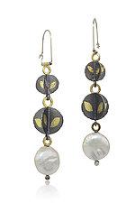Descending Blossoms Earrings by Christine Mackellar (Gold, Silver & Pearl Earrings)