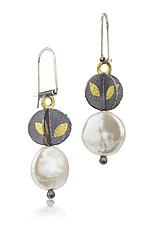 Small Descending Blossom Earrings by Christine Mackellar (Gold, Silver, & Pearl Earrings)