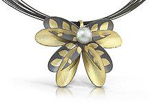 Black Dragon Flower by Christine Mackellar (Gold, Silver & Pearl Necklace)