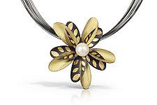 Black Dragon Grandiflora by Christine Mackellar (Gold, Silver & Pearl Necklace)