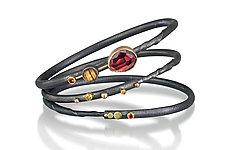 Regal Bracelet Set by Christine Mackellar (Gold, Silver & Stone Bracelet)