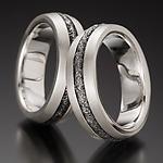 Heavy Pitted Steel Stripe by Robin Cust (Silver & Steel Ring)
