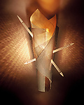 St. Sebastian's Night Light by Rick Melby (Art Glass & Metal Sconce)