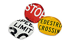 Pentatrays Set: Red, Speed Limit & Yellow by Boris Bally (Recycled Metal Trays)