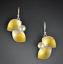 Budding Dangle Earrings by Judith Neugebauer (Gold, Silver & Pearl Earrings)