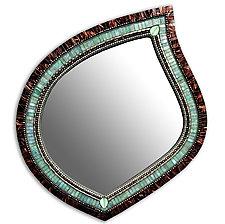 Green Tea Leaf Mirror by Angie Heinrich (Mosaic Mirror)