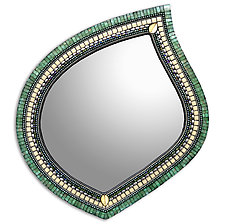Jade Cream Leaf Mirror by Angie Heinrich (Mosaic Mirror)