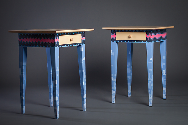 Modern Night Stand in Blue and Pink