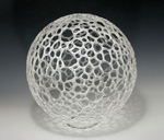 Semi-Frosted Sphere by Bandhu Scott Dunham (Art Glass Sculpture)