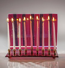 Sunset Stripes Menorah by Varda Avnisan (Art Glass Menorah)