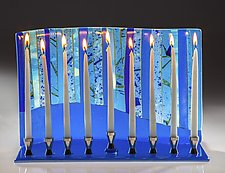 Blue Forest Menorah by Varda Avnisan (Art Glass Menorah)