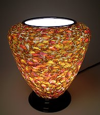 Rose Gold Table Lamp by Curt Brock (Art Glass Table Lamp)