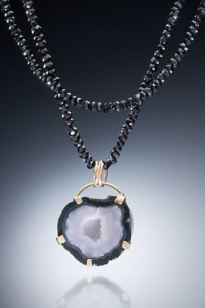 Black Spinel, 18k and Geode Necklace