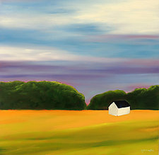 White Barn #5 by Mary Johnston (Oil Painting)