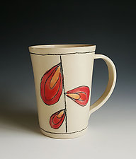Leaf Design Mug in Red by Heidi Fahrenbacher (Ceramic Mug)