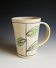 Leaf Design Mug in Green by Heidi Fahrenbacher (Ceramic Mug)