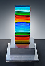 """Gene Davis"" Style Rainbow Monolith by Helen Rudy  (Art Glass Sculpture)"