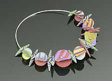 Wings on a Wire - Red Blue Multi Mix by Arden Bardol (Polymer Clay Necklace)