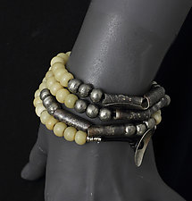 Wrap Around Bracelet with Bone Beads by John Siever (Silver & Stone Bracelet)