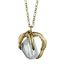 Claw and Rock Crystal by Natalie Frigo (Brass & Stone Necklace)