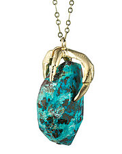 Claw and Chrysocolla by Natalie Frigo (Brass & Stone Necklace)