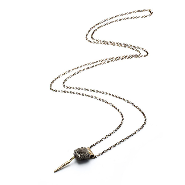 Small Tube and Pyrite Necklace