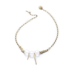 Frosted Lucite and Tubes Necklace by Natalie Frigo (Brass & Lucite Necklace)