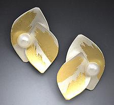 Lotus Pearl Earring by Judith Neugebauer (Gold, Silver & Pearl Earrings)