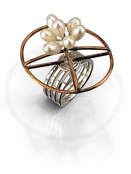 Bronze Oval Ring with Pearls
