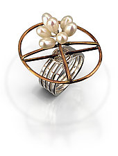 Bronze Oval Ring with Pearls by Randi Chervitz (Bronze, Silver, & Pearl Ring)