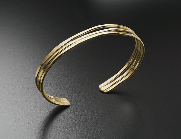 Hammered Cuff Bracelet in Gold