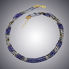 Blue Quartz and Hematite Necklace by Judy Bliss (Gold & Stone Necklace)