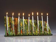 Wide Forest Menorah by Varda Avnisan (Art Glass Menorah)
