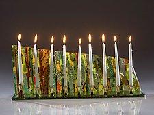 Wide Forest Menorah by Varda Avnisan (Art Glass Menorah)
