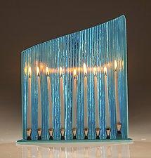 Tall Blue Wall Menorah by Varda Avnisan (Art Glass Menorah)